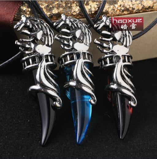 1pc new Fashion titanium Stainless steel Glass Horns pendant necklace statement necklace for lovers High Quality