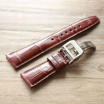 TOTOY Handmade krokodyla skórzane paski do zegarków 22 MM składane klamra mężczyzna skórzane paski do zegarków szybka dostawa tanie i dobre opinie Crocodile Nowa z metkami Buckle-201 20 cm
