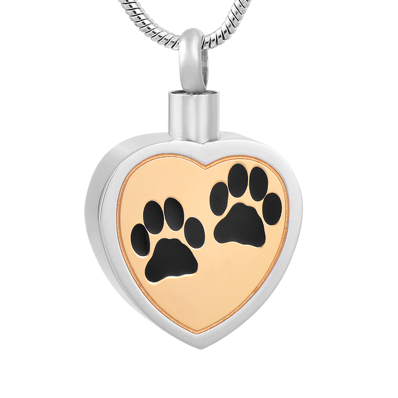 Bulk Cremation Jewelry Ijd8247 Paw Print Heart Cremation Necklace Memorial Pet