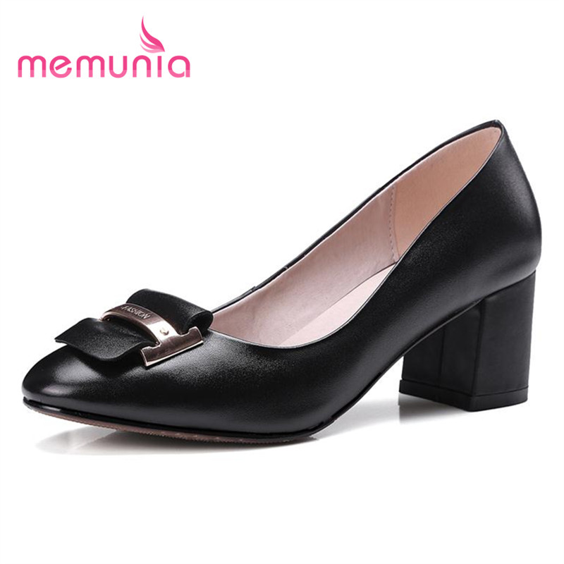 ФОТО MEMUNIA Work shoes office lady shallow genuine leather single dress high heels shoes fashion mature women pumps new arrive