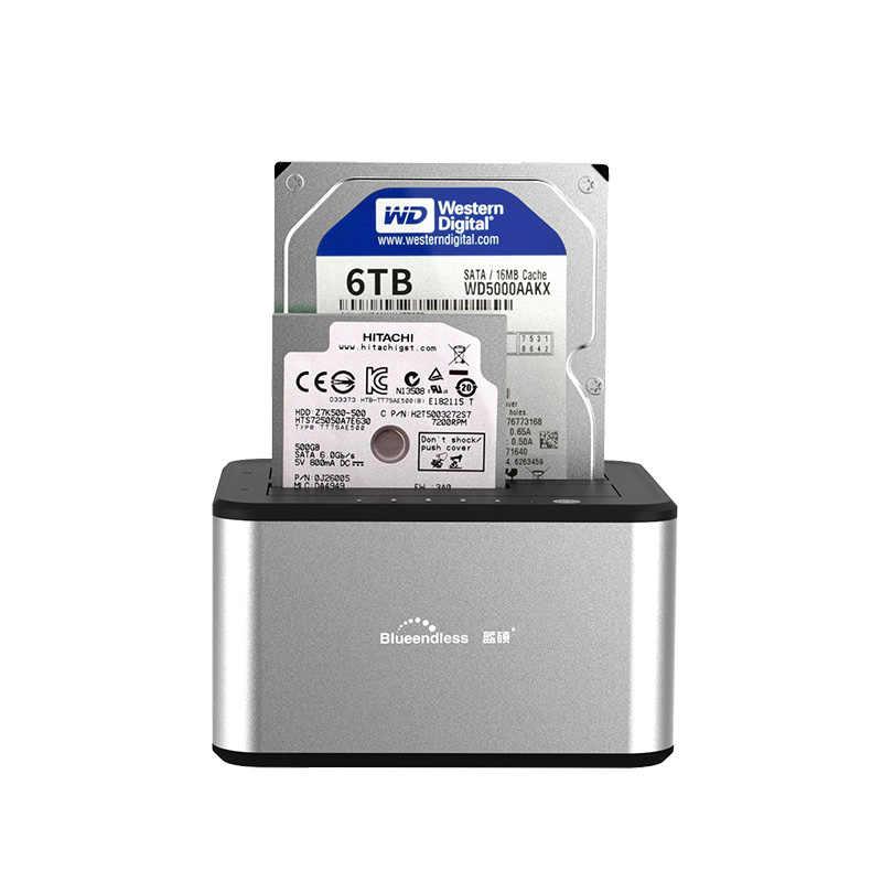 5GBP USB 3.0 الألومنيوم تصل إلى 6 تيرا بايت المزدوج خليج 2.5 3.5 محطة الإرساء الخارجية كيس الناسخ مصنع توفير HDD محطة القرص الصلب