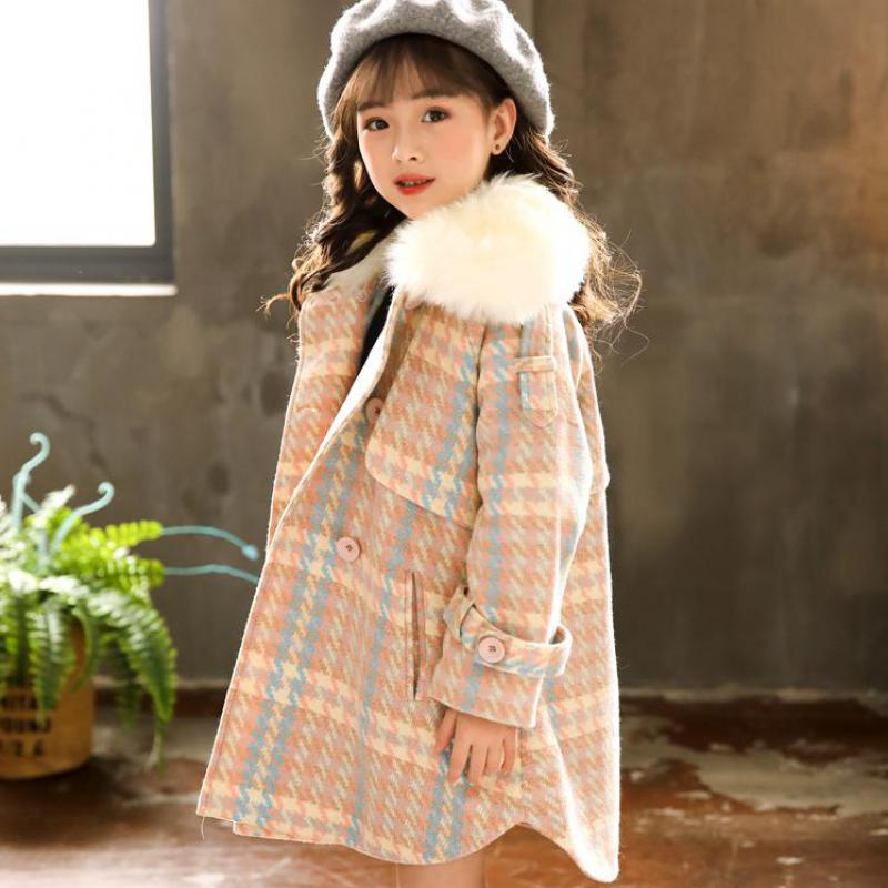 Children's Clothing Toddler Girls Wool Blends Coat Girls 2018 New Windbreaker Long Sleeve Wool Coats Warm Coat Christmas Clothes gothic palace women wool blends steampunk long style winter wool jackets women s turn down collar wool long coats large sizes