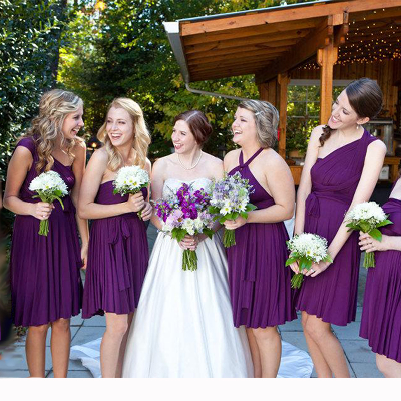 MultiWay Dress Purple Short Bridesmaid Dress Convertible Infinity Dress Grape Short Wrap Dress With Straps Cap Sleeves Styles