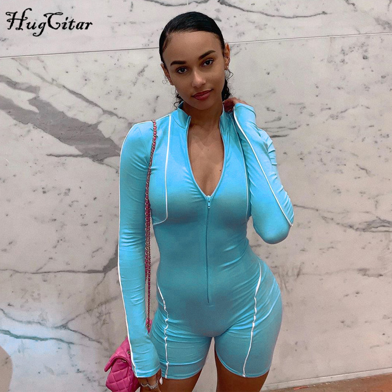 Hugcitar Reflective Patchwork Zipper Bodycon Playsuit 2019 Autumn Winter Women Fashion Streetwear Long Sleeve Body