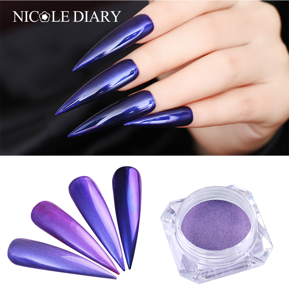 The Nail Art And Beauty Diaries: NICOLE DIARY Purple Mirror Nail Glitter Mermaid Pearl
