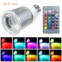 E27 9 Вт затемнения rgb светодиодные лампы IP30 многоцветный прожектор лампы с 28 Ключи Беспроводной Дистанционное управление Освещение AC85-265V