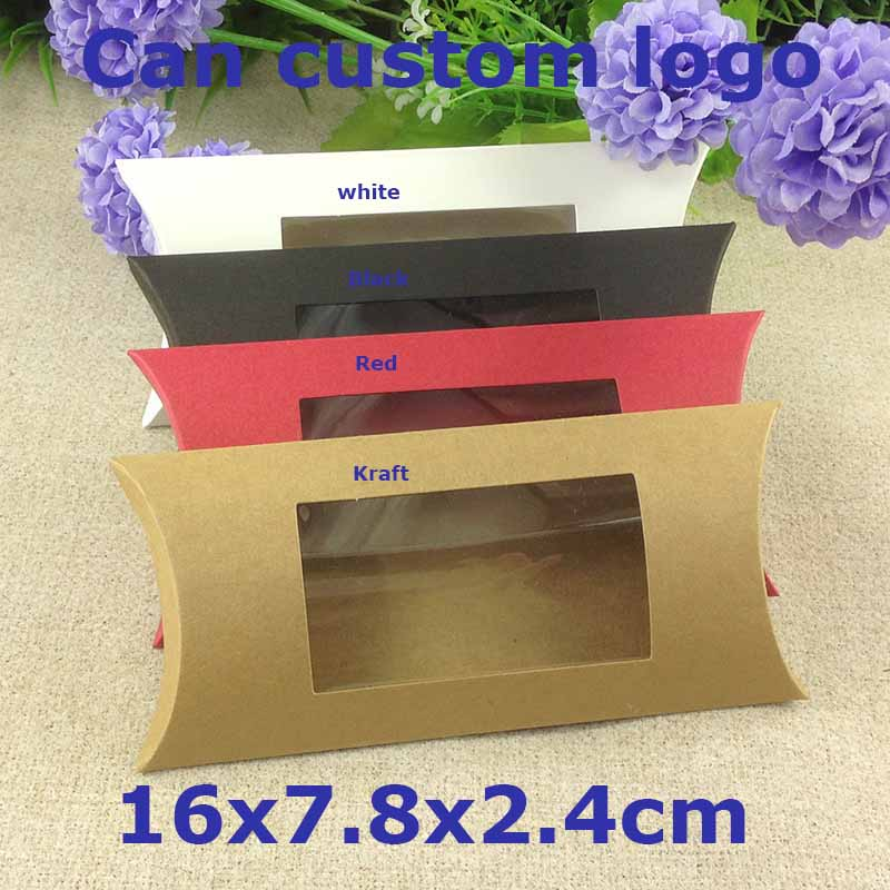 Diy Pillow box White Wedding Favour Gift Box Baby Shower Packing Pillow box with Window Custom Logo Cost Extra1Lot =50 Pcs