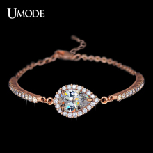 UMODE Brand Jewelry Fashion Austrian Rhinestones Chain Bracelets For Women Rose Gold Plated Imitation Diamond Bracelets