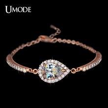 UMODE Brand New Chain Bracelet Jewelry Fashion Austrian Rhinestones Chain Bracelets For Women Rose Gold Color
