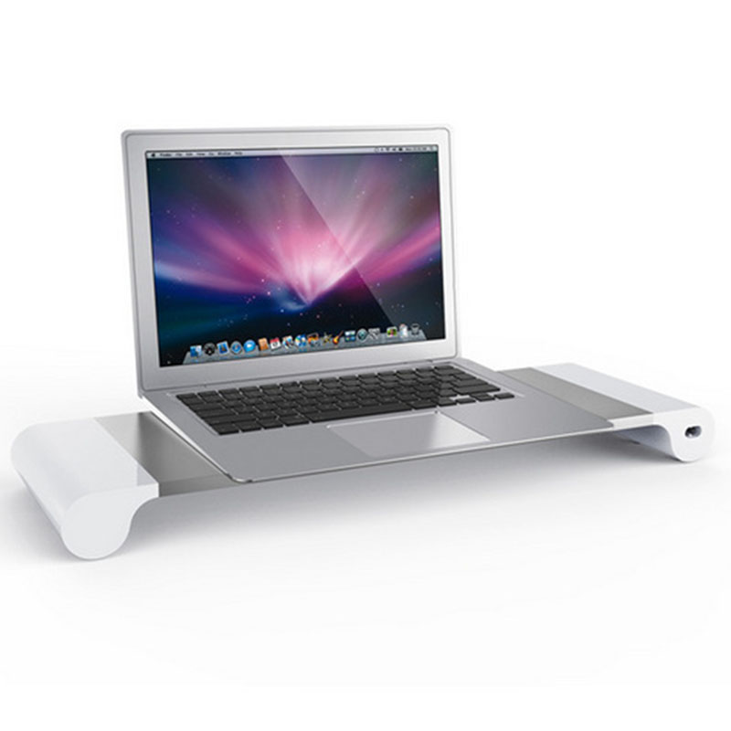 Fashion Modern Computer Monitor Stand Tray Rechargeable Laptop Stand Table High Quality Aluminum Alloy Notebook  Desktop Stand(China)