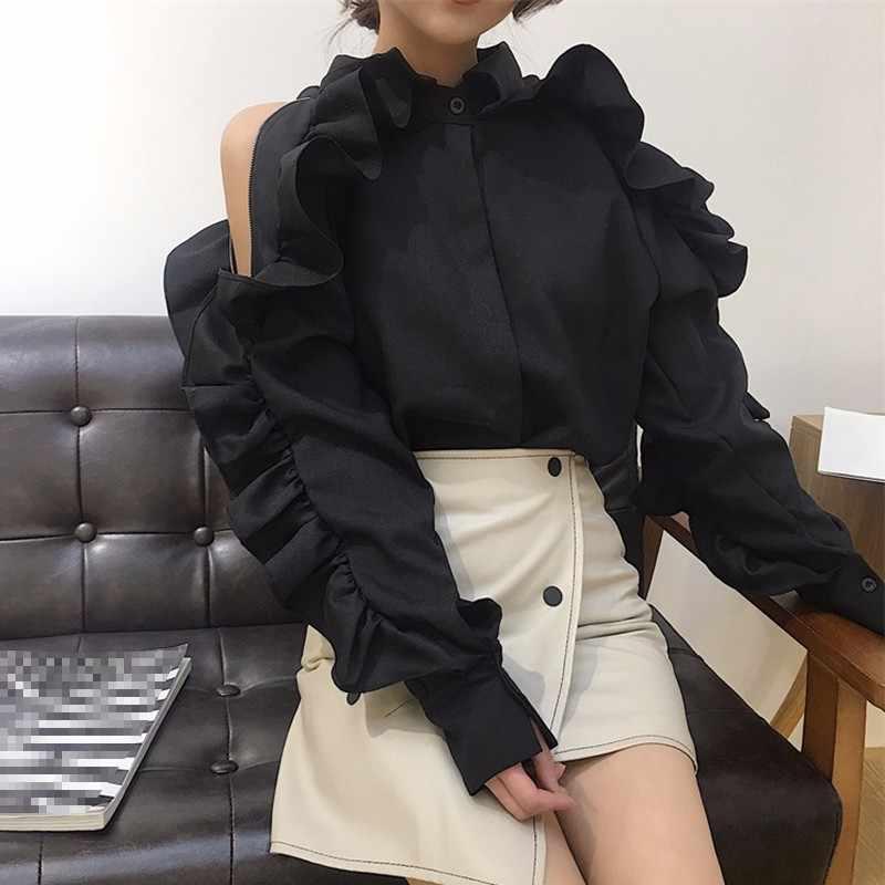 TWOTWINSTYLE オフショルダーシャツ女性フリルパッチワークラペルカラー長袖ブラウス女性 2019 春韓国服