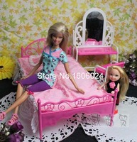 Hot Sale 5PCS SET Dressing Table Desk Bed Pillow Bedsheet Baby Girl Mini Doll Accessories Bed