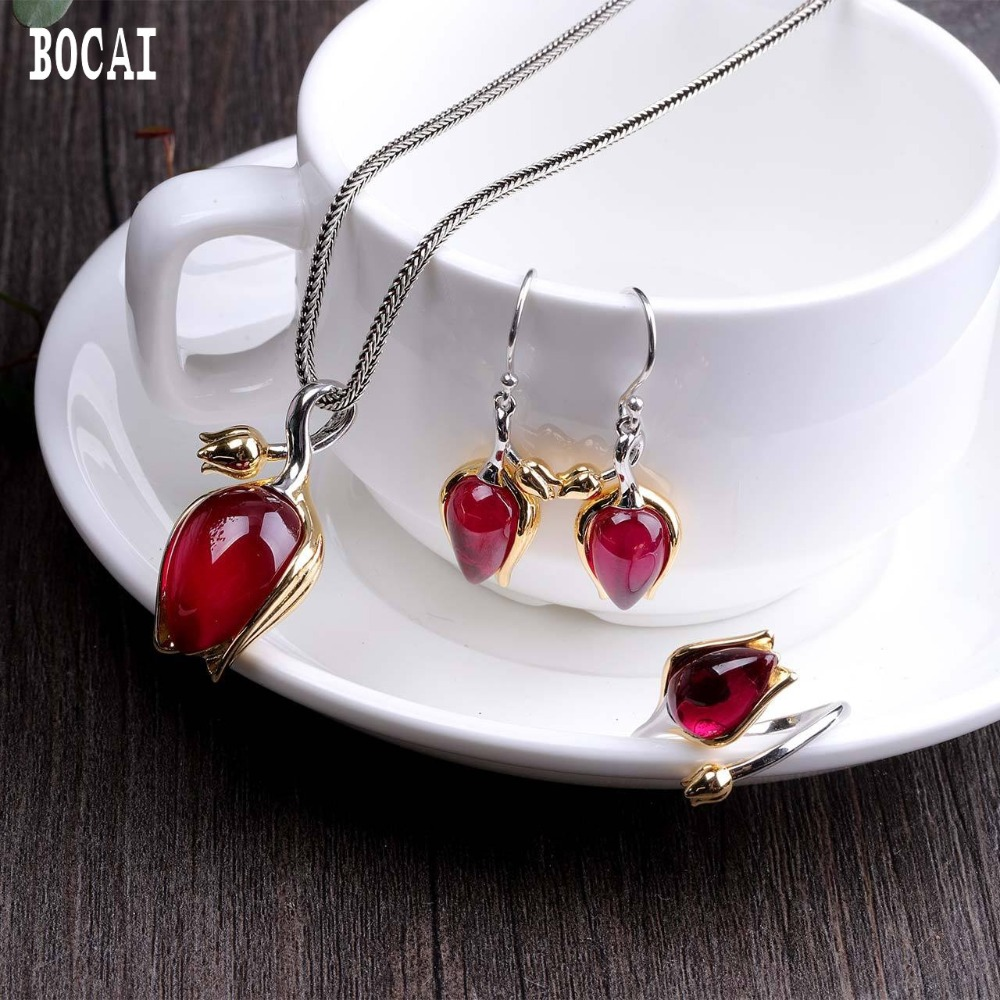Ornaments Jewelry Tulips Red-Corundum-Set Silver Fashion S925 Pure Handmade-Design Ladies