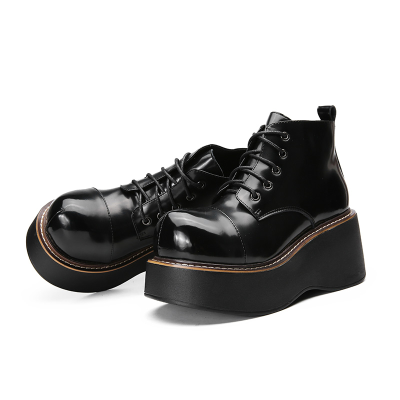 Image 4 - 2018 VALLU Women Shoes Wedge Boots Lace Up Roud Toes Platform Ankle Boots Genuine Leather Lady Casual Boots-in Ankle Boots from Shoes