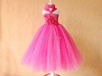Çiçek kız sıcak pembe köpüklü tutu elbiseler toptan perakende için glitter tül parti elbise kız çocuk çocuklar fotoğraf prop