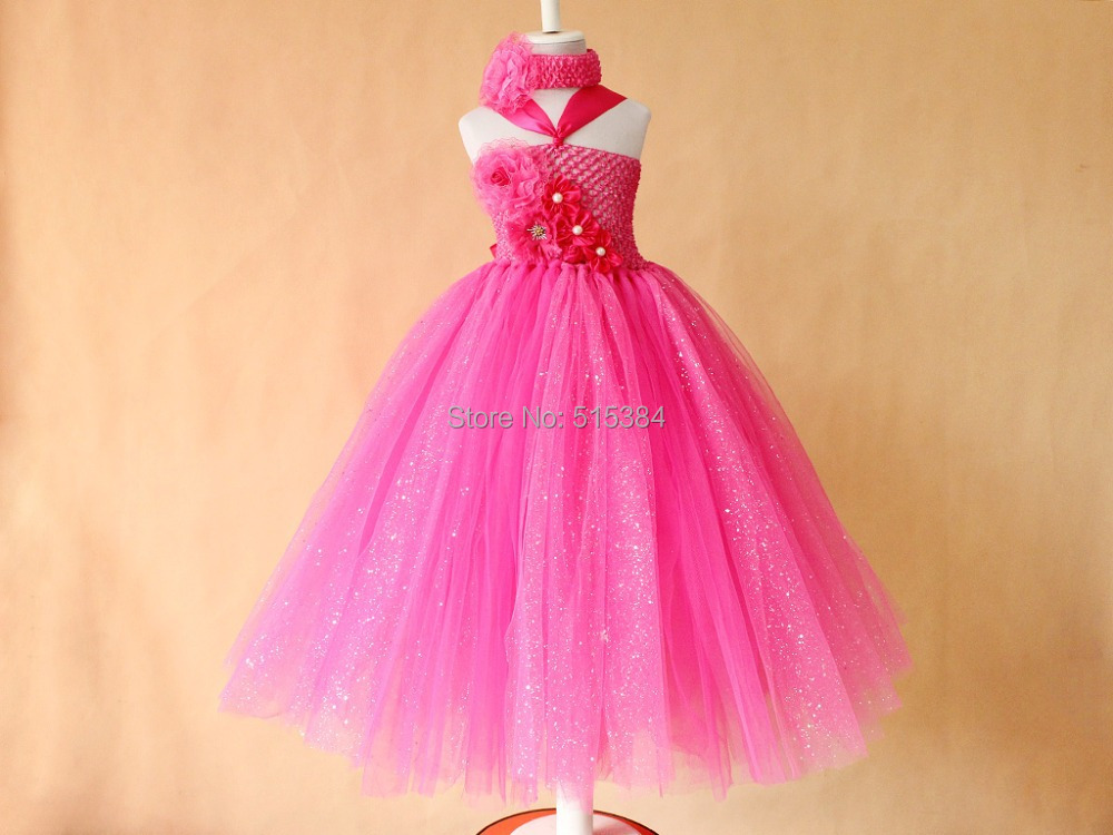 flower girls hot pink sparkling tutu dresses wholesale retail ...
