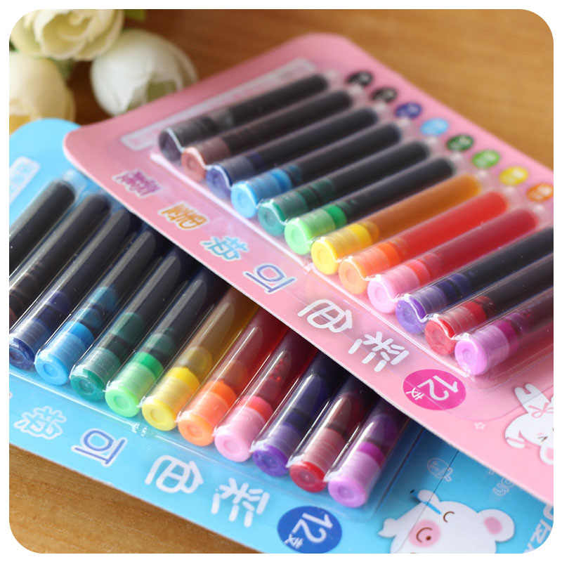 AIHAO 12 renkler/lot tek kullanımlık mürekkep kesesi kartuş yedekler çeşme kaligrafi kalemi ofis okul malzemeleri yaratıcı kırtasiye