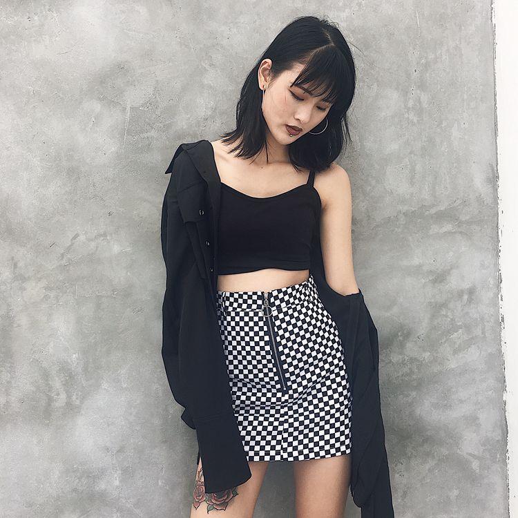 HTB1AxNFRpXXXXaoaXXXq6xXFXXX3 - FREE SHIPPING High Waist Mini Skirts Black White Checkerboard Plaid JKP240