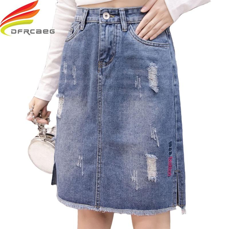 Denim Skirts High Waist 2018 New Arrivals Ripped Hole A Line Skirt Knee Length Pockets Embroidery Skirt Denim Jeans Skirt