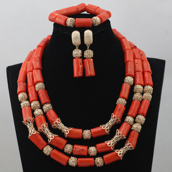 Luxury Coral Beads Bridal Jewelry Sets African Nigerian Wedding Beads for Women Jewelry Set Choker Necklace Free Shipping ABL403 splendid nigerian wedding beads vintage classic jewellry set choker necklace set african women bridal jewelry set