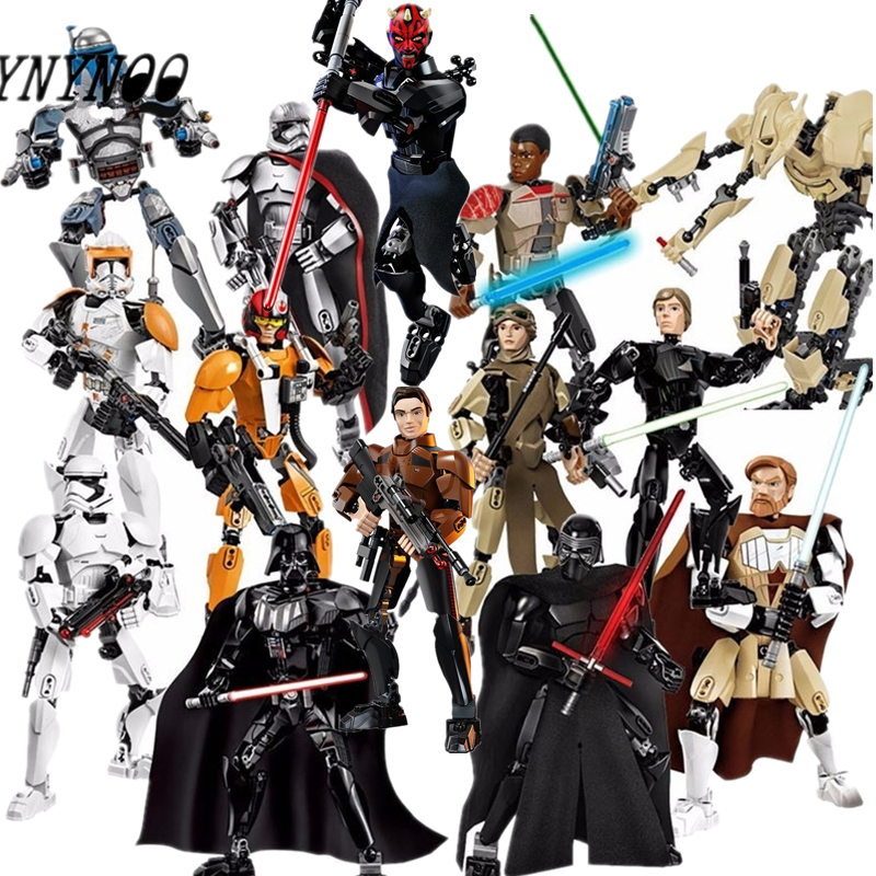 Star Wars Finn Rey Poe Jango Fett Darth Vader Buildable Action Figure Model Building Blocks Toy Compatible with Legoinglys ksz326 star wars rogue one toys jango phasma jyn erso k 2so darth vader general grievous figure toy building blocks toys