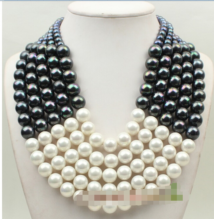 Beautiful 5row 17 white&black shell pearl necklace earrings setBeautiful 5row 17 white&black shell pearl necklace earrings set