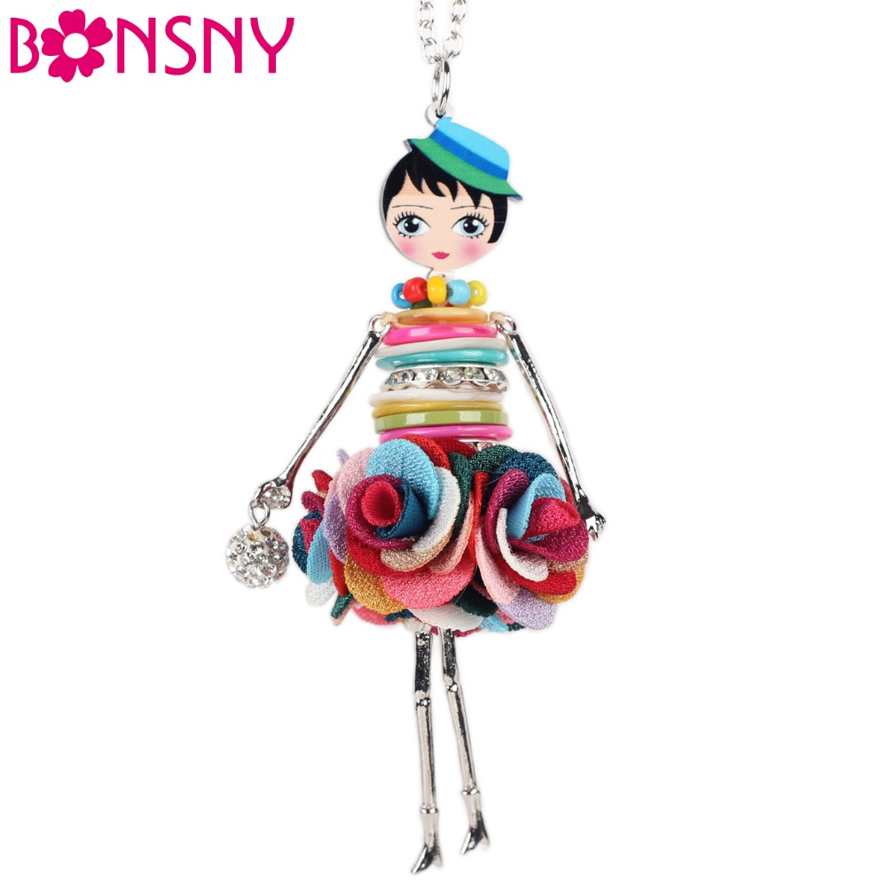 Bonsny Shell Crystal Doll Necklace Dress Handmade French Doll Pendant 2016 News Alloy Girl Women Flower Fashion Jewelry