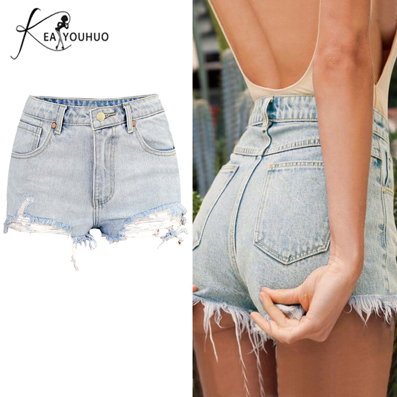 2019 Summer   Shorts   Sexy Ripped Hole   Short   Jeans Womens High Waist   Shorts   Blue Crimping Denim   Shorts   For Women Casual Plus Size