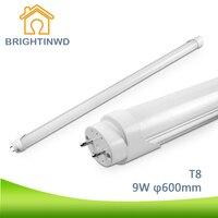 Brightinwd t8 ledランプg13チューブ60センチランパーダled 110-265ボルトsmd 2835 9ワット調光可能坪led省エネlampen置き換えるエジソン電