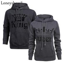 Autumn Winter Knitted King Queen Letter Printed Couple Hoodies Hip Hop Street Wear Sweatshirts Women Hooded