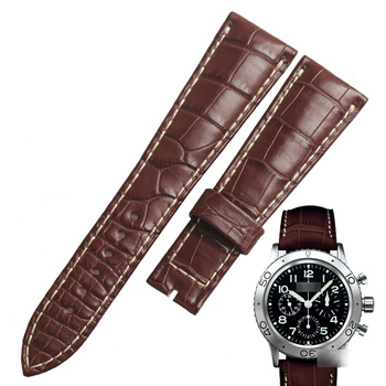 WENTULA watchbands for Breguet-TYPE XX 3817 3800 alligator skin /crocodile grain Leather leather strap watch band image