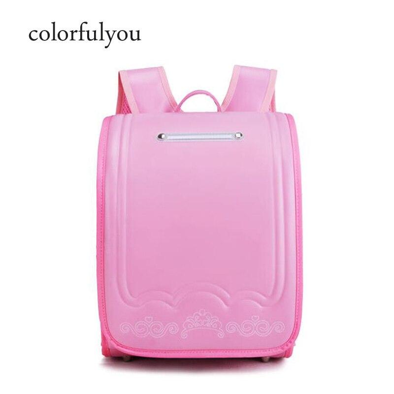 Japon enfant sac sacs d'école orthopédiques enfants sac à dos pour filles et garçon imperméable à l'eau PU Randoseru fleur design étudiant sac 2019