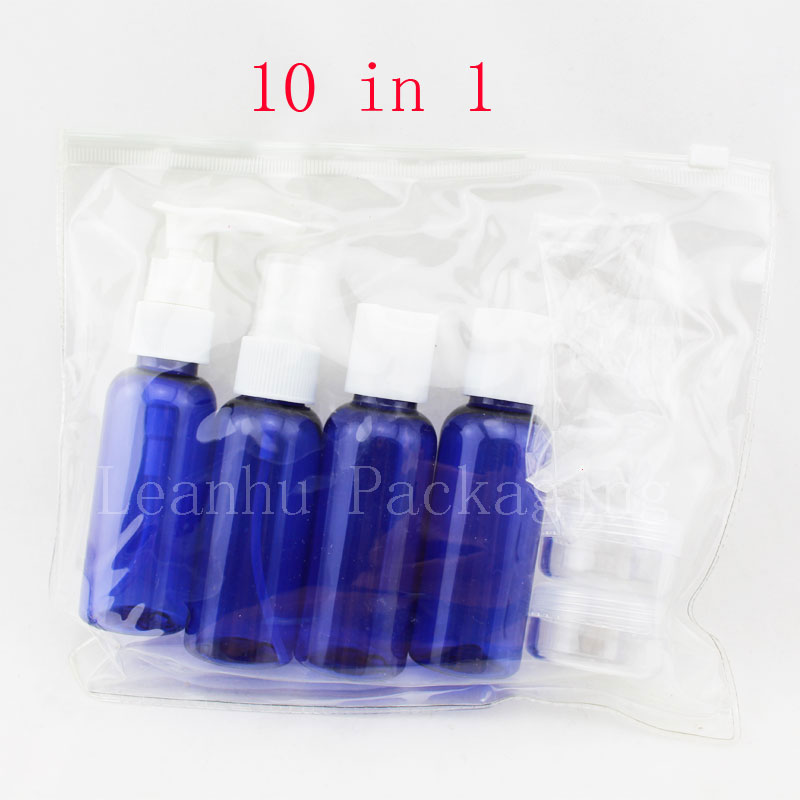 set of 10 blue plastic travel size empty bottles set tsa airline approved bpa free makeup. Black Bedroom Furniture Sets. Home Design Ideas