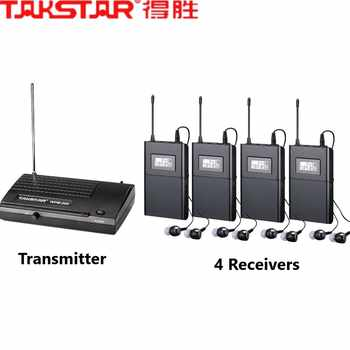 Takstar wpm-200/wpm200 UHF wireless monitor system In-Ear stereo wireless headset stage monitors 1 Transmitter+4 Receivers - DISCOUNT ITEM  15 OFF Consumer Electronics