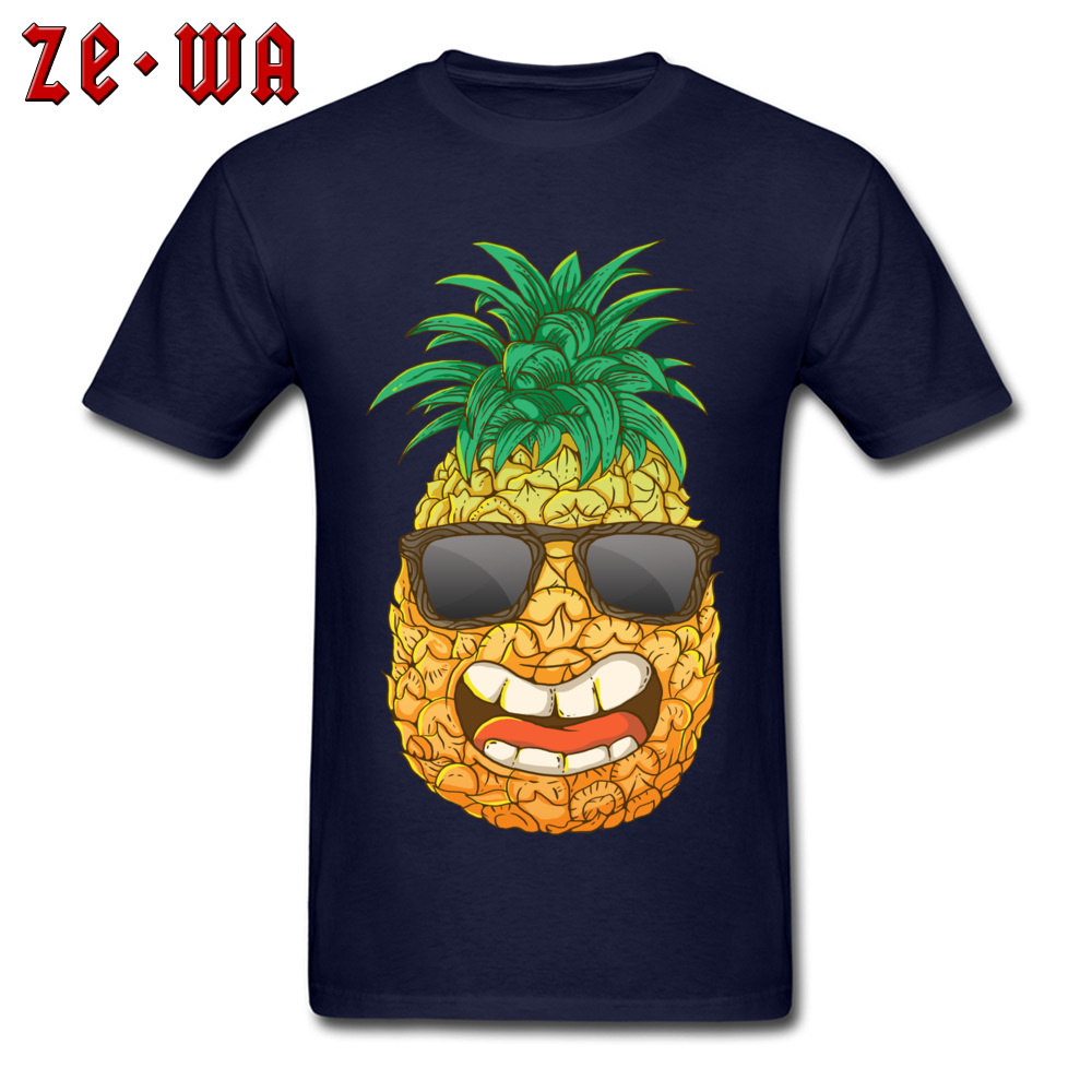 Cool Pineapple Round Neck Top T-shirts Labor Day Tops Shirts Short Sleeve Special Cotton Cool Tops & Tees Custom Student Cool Pineapple navy