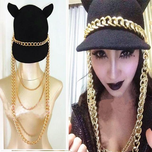 Мода панк хип-хоп цепи кисточкой imp черный крышка женской моды преувеличены золото супер длинная цепь женщины вс hat caps