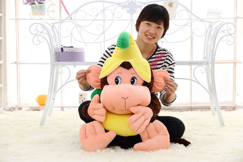 stuffed toy 60cm cartoon monkey plush toy with banana hat soft throw pillow Christmas gift b0845 plush toy happy stuffed pig with a hat