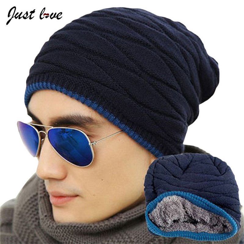 цена на 2017 Brand Beanies Knit Men's Winter Hat Caps Skullies Bonnet Winter Hats For Men Women Beanie Fur Warm Baggy Wool Knitted Hat