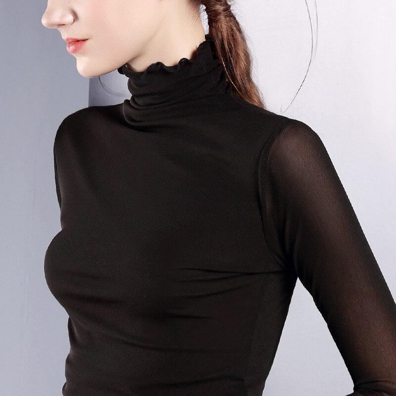 Women Turtleneck Slim   T     Shirt   Plus Size 2018 Autumn Winter New Hot Fashion Female Long Sleeve Simple Basic Classic Tops   T  -  shirts