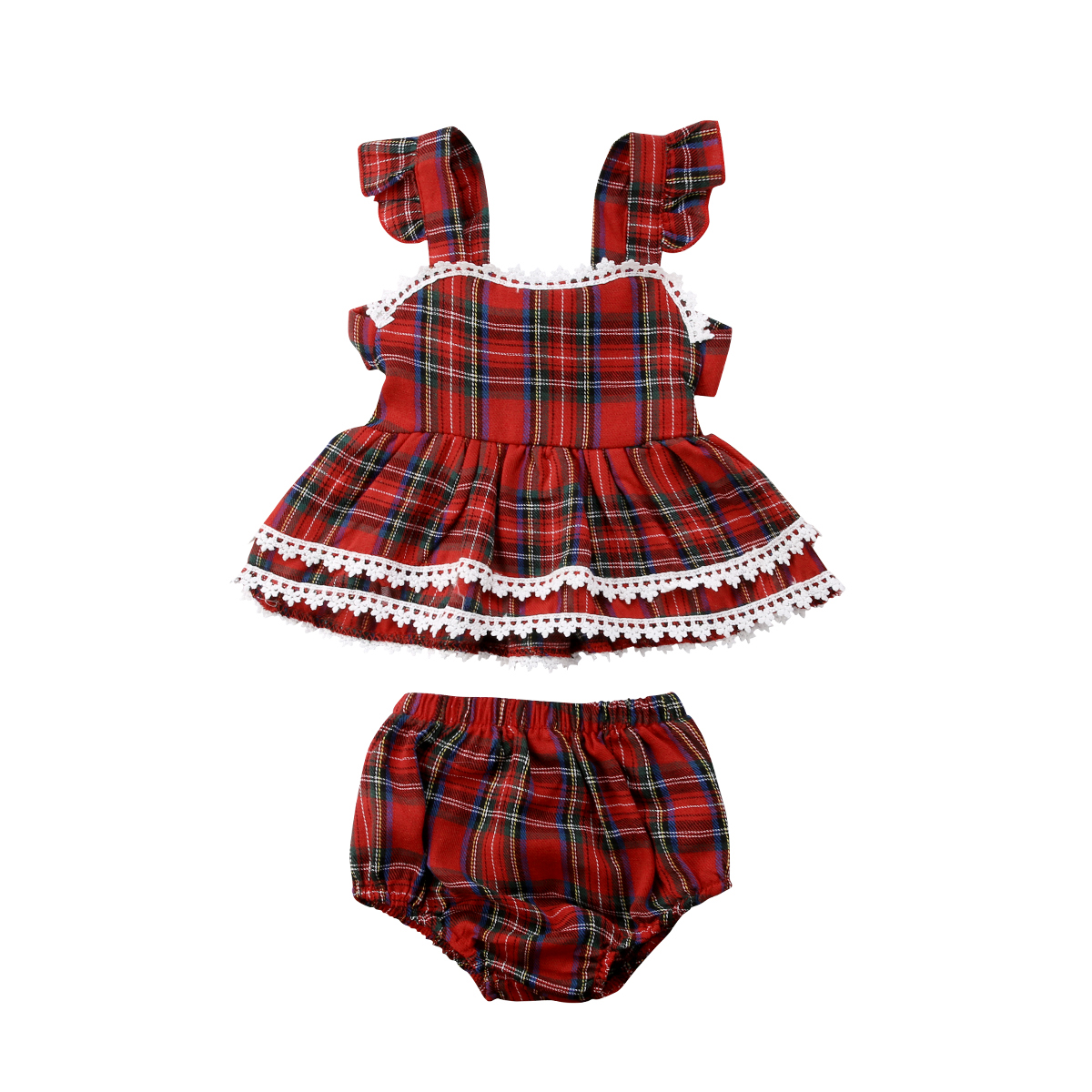 0-3Y Toddler Kids Baby Girls Red Plaid Clothes Set Backless Ruffles T-shirt Tops + Bottom Shorts Outfits