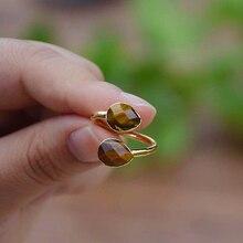 Модное кольцо с регулируемым размером и камнем Тигрового Глаза