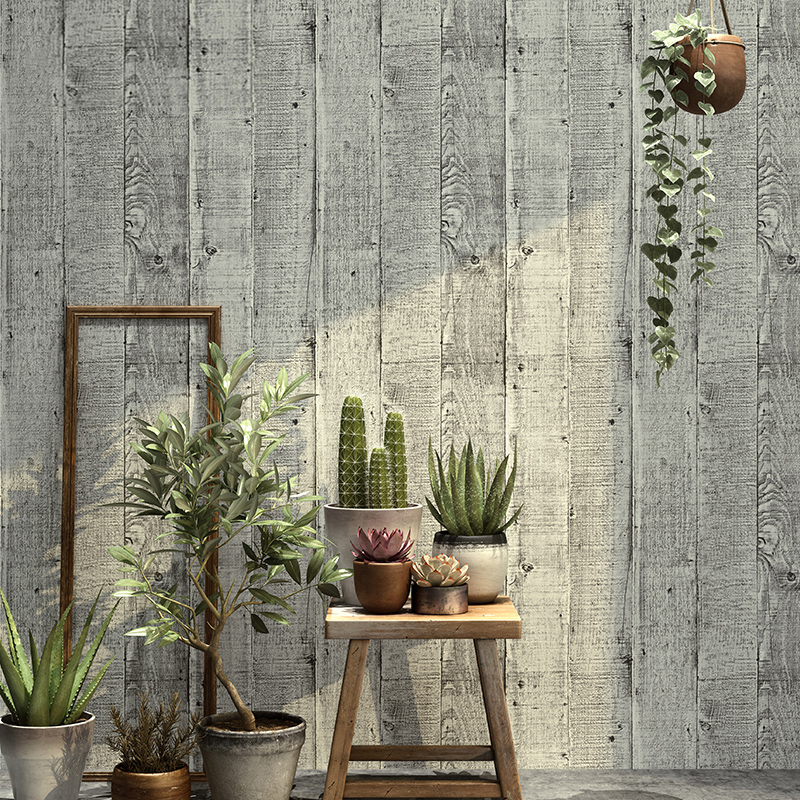 Modern Simple Grey Stripe Wood Board Wallpaper Restaurant Cafe Living Room Study Non-Woven Eco-Friendly Wall Paper For Walls 3 D