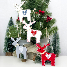 1Pcs Wooden Heart Deer Elk Hanging Christmas Ornaments for Tree Decorations 2019 New Year Party Home Decor Pendants
