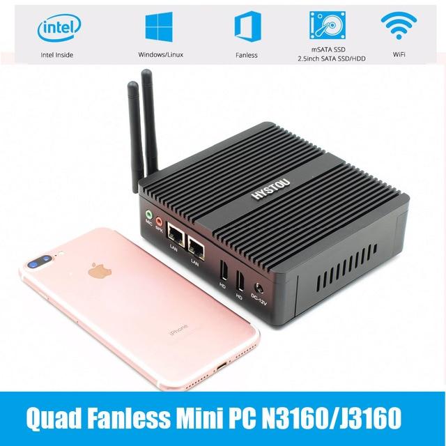 Qaud Core Pfsense безвентиляторный мини-ПК Intel N3160/J3160 J1900 Barebone Мини ПК 2 * Gigabit LAN (RJ-45) dual LAN мини ПК сервер