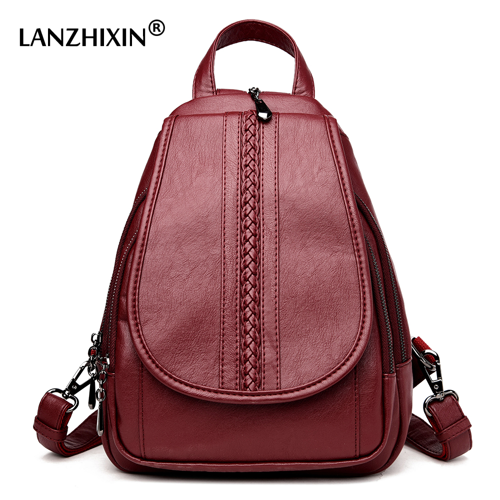 Lanzhixin New Arrival Women Leather Backpacks College Students Simple Backpacks Girls Wind Large Capacity Preppy Backpacks 1073