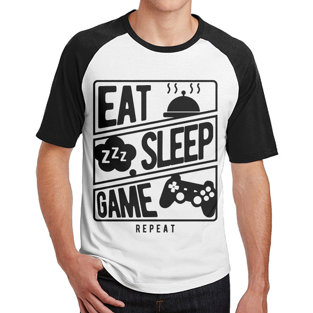 b88e235ba26 Eat Sleep Game Repeat male hip hop t shirt printing design short sleeve  100% cotton man o neck tops