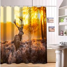 F516XY4 Custom deer horns animal autumn-orange tree animal Fabric Modern Shower Curtain bathroom Waterproof  LF3