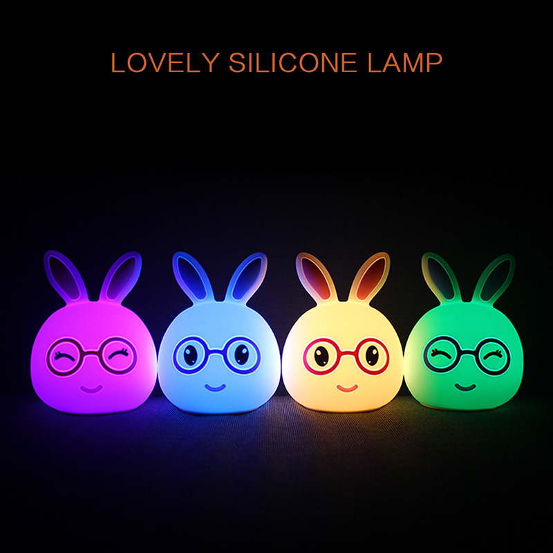 Newest Rabbit LED Baby Night Light Multicolor Silicone Soft Nursery Lamp for Children Toddler Room Decor @8