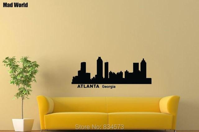 Mad World Atlanta Geogia Skyline Cityscape Wall Art Stickers Wall ...