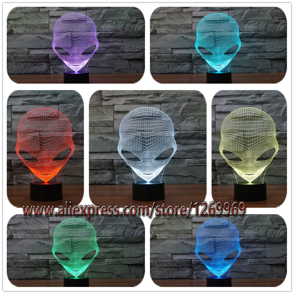 3D illusion Christmas Home Cafe Bar Decoration Alien LED Touch Desk Night Light 7Color Changing Table Lamp Child New Year Gift